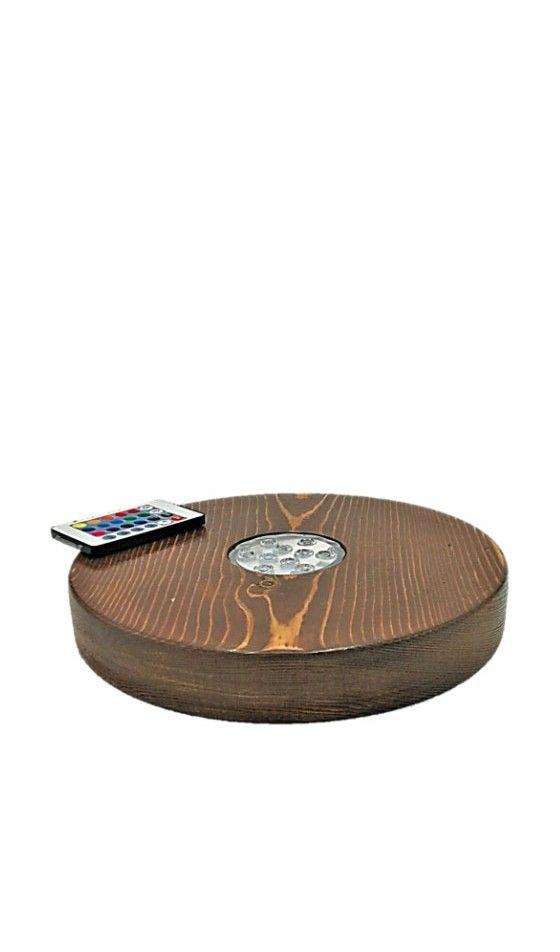 Base de madera con LED RGB + mando